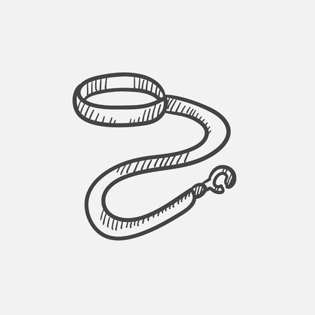dog leash: Dog leash and collar sketch icon set for web, mobile and infographics. Hand drawn vector isolated icon.