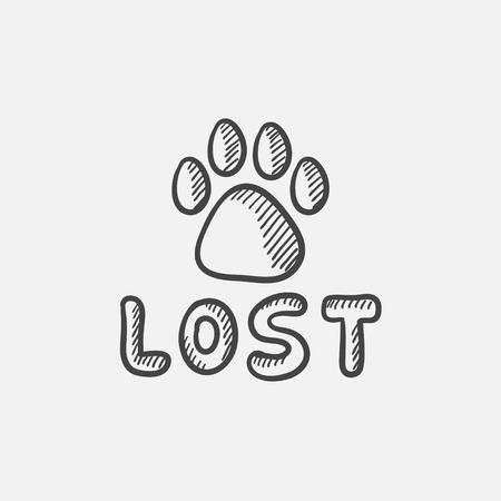 Tatzen-Druck mit Wort verloren Skizze Icon-Set für Web, Mobile und Infografiken. Hand gezeichnet Vektor isoliert Symbol.