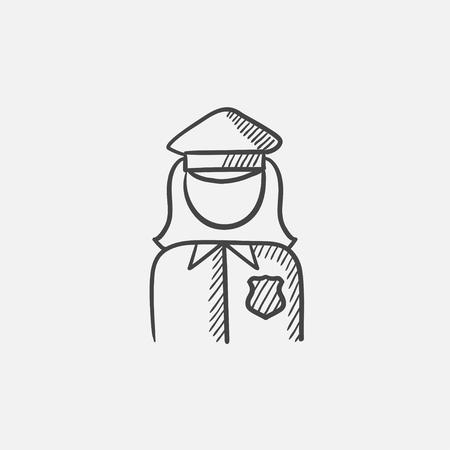 femme policier: Policewoman icône d'esquisse pour le web, le mobile et infographies. Main vecteur tracé icône isolé.