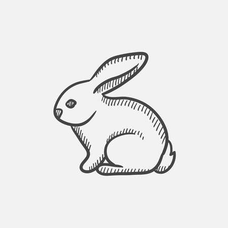 fleecy: Rabbit sketch icon set for web, mobile and infographics. Hand drawn vector isolated icon. Illustration