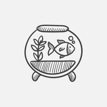 vesicle: Fish in aquarium sketch icon set for web, mobile and infographics. Hand drawn vector isolated icon.