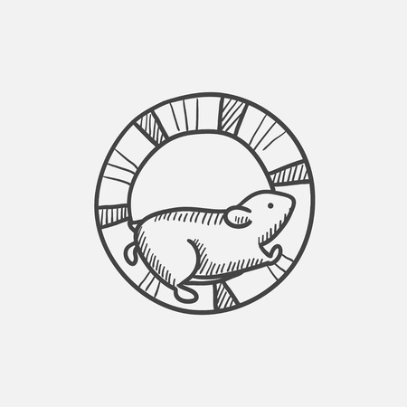 Hamster running in the wheel sketch icon set for web, mobile and infographics. Hand drawn vector isolated icon.