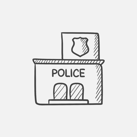precinct station: Police station  sketch icon for web, mobile and infographics. Hand drawn vector isolated icon. Illustration