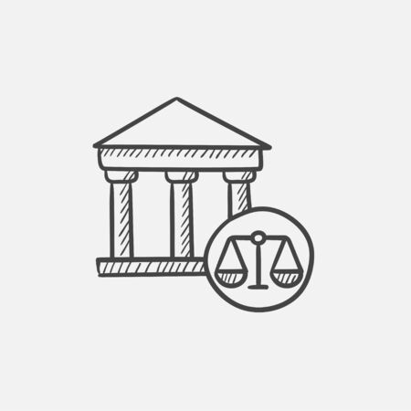 weigher: Court sketch icon for web, mobile and infographics. Hand drawn vector isolated icon. Illustration