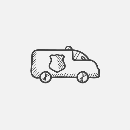 security lights: Police car sketch icon for web, mobile and infographics. Hand drawn vector isolated icon. Illustration