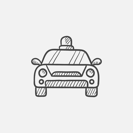 Police car sketch icon for web, mobile and infographics. Hand drawn vector isolated icon. Illustration