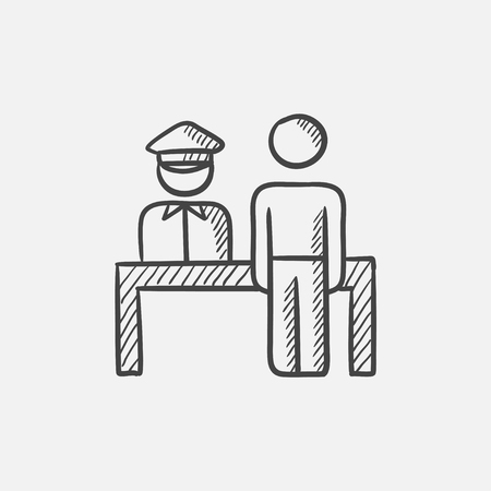 airport security: Airport security  sketch icon for web, mobile and infographics. Hand drawn vector isolated icon.