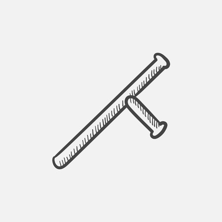 truncheon: Baton sketch icon for web, mobile and infographics. Hand drawn vector isolated icon. Illustration
