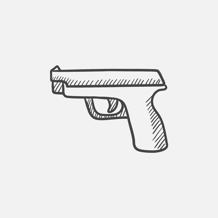 Handgun sketch icon for web, mobile and infographics. Hand drawn vector isolated icon.