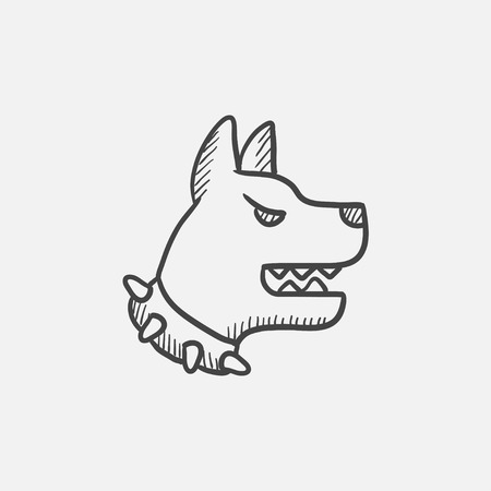 Aggressive police dog sketch icon for web, mobile and infographics. Hand drawn vector isolated icon. Illustration