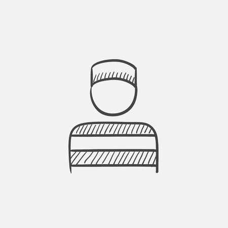 detained: Prisoner sketch icon for web, mobile and infographics. Hand drawn vector isolated icon.
