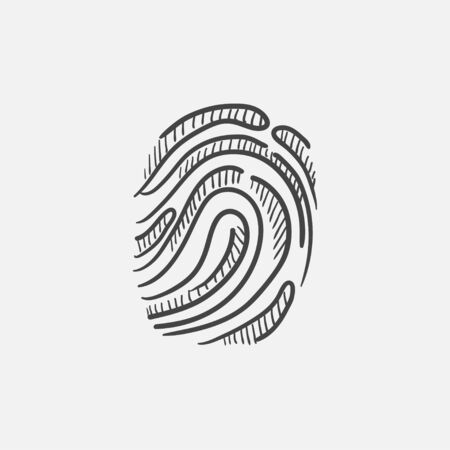 Fingerprint sketch icon for web, mobile and infographics. Hand drawn vector isolated icon. Stock fotó - 60994975