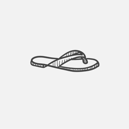 beachwear: Flip-flops sketch icon set for web, mobile and infographics. Hand drawn vector isolated icon.