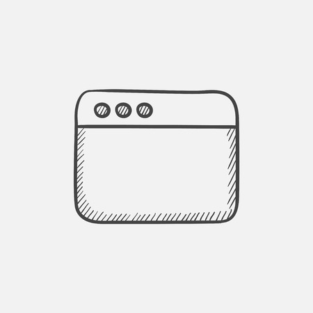 Blank window of internet browser sketch icon for web, mobile and infographics. Hand drawn vector isolated icon. Ilustrace