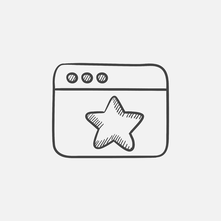 Browser window with star favorite sign sketch icon for web, mobile and infographics. Hand drawn vector isolated icon.
