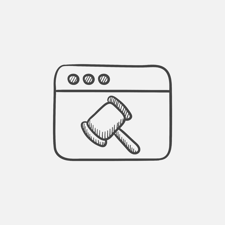 Browser window with judge or auction hammer sketch icon for web, mobile and infographics. Hand drawn vector isolated icon.