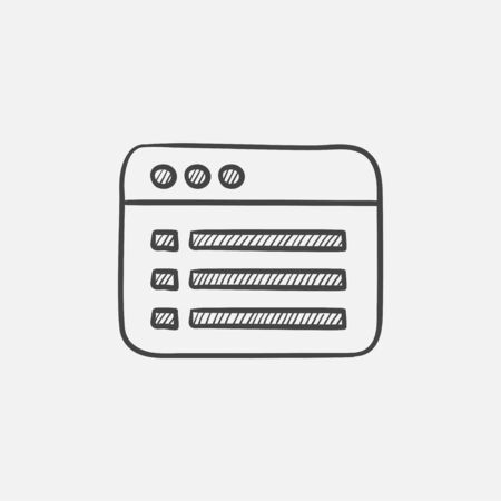 bytes: Browser window with folder contents sketch icon for web, mobile and infographics. Hand drawn vector isolated icon.