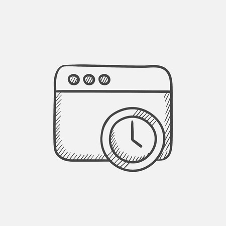 Browser window with clock sign sketch icon for web, mobile and infographics. Hand drawn vector isolated icon. Ilustração