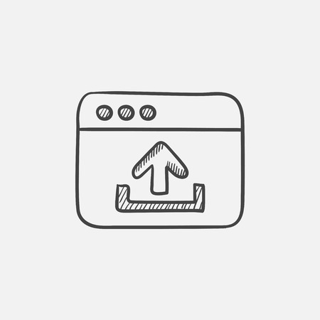 uploading: Browser window with upload sign sketch icon for web, mobile and infographics. Hand drawn vector isolated icon.