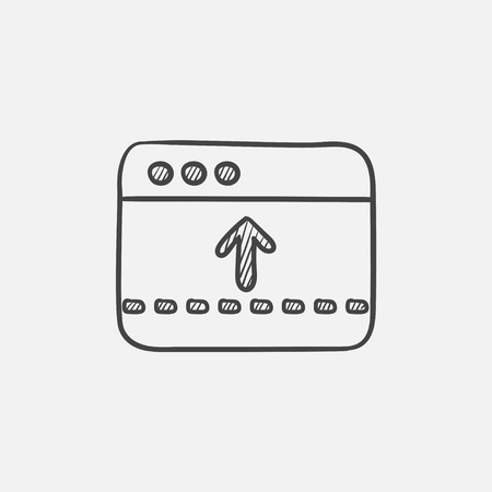 Browser window with arrow up sketch icon for web, mobile and infographics. Hand drawn vector isolated icon.