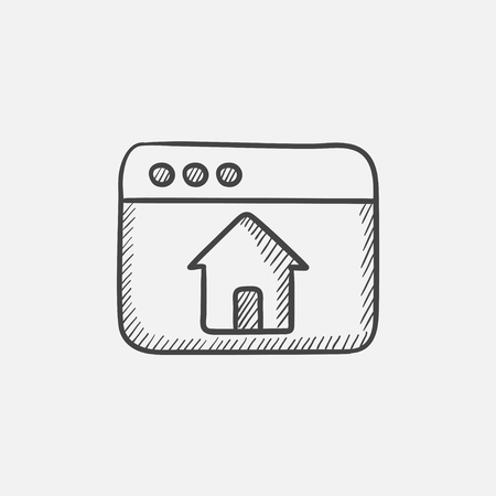 Browser window with home sketch icon for web, mobile and infographics. Hand drawn vector isolated icon. Illustration