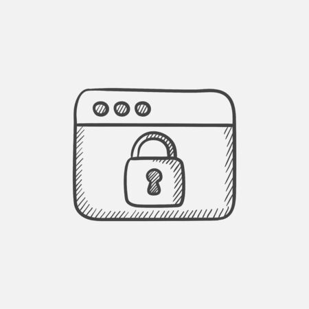 Browser window with lock sketch icon for web, mobile and infographics. Hand drawn vector isolated icon. Illusztráció
