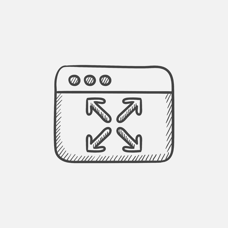 maximize: Full screen sketch icon for web, mobile and infographics. Hand drawn vector isolated icon. Illustration