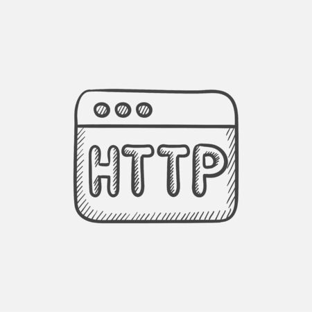 url: Browser window with http text sketch icon for web, mobile and infographics. Hand drawn vector isolated icon.
