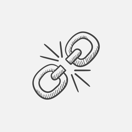 Broken link sketch icon for web, mobile and infographics. Hand drawn vector isolated icon.
