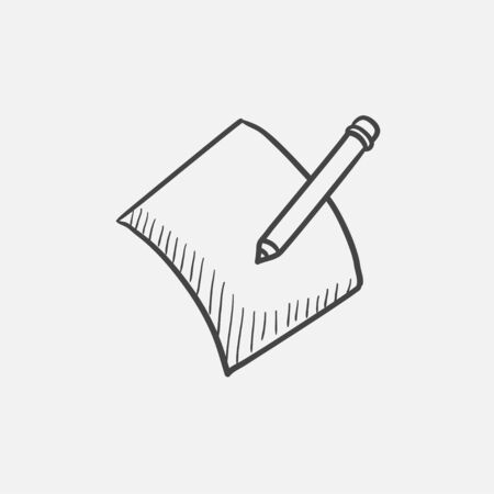 Pencil and document sketch icon for web, mobile and infographics. Hand drawn vector isolated icon. Çizim