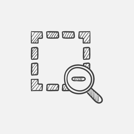 sketch out: Zoom out sketch icon for web, mobile and infographics. Hand drawn vector isolated icon. Illustration