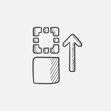 shifting: Movement of files  sketch icon for web, mobile and infographics. Hand drawn vector isolated icon.