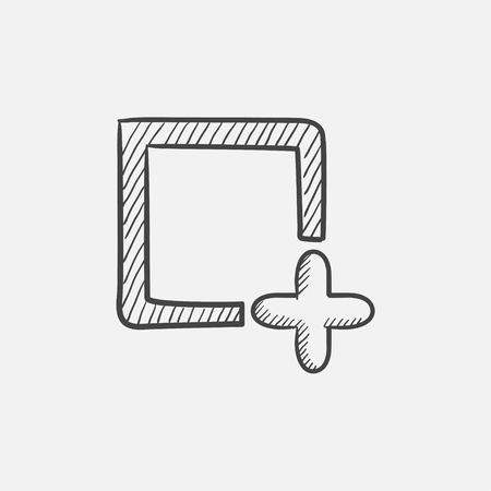 web element: Add file sketch icon for web, mobile and infographics. Hand drawn vector isolated icon.