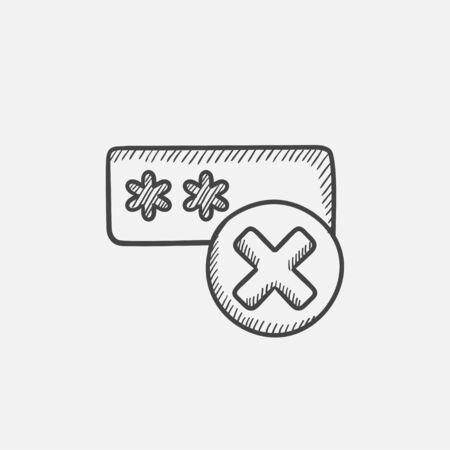 Mal dibujo icono de contraseña para web, móvil e infografía. aislado vector dibujado a mano icono. Foto de archivo - 60996370