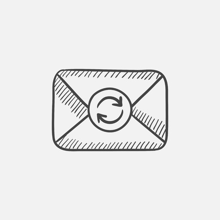 Envelope mail with refresh sign sketch icon for web, mobile and infographics. Hand drawn vector isolated icon.