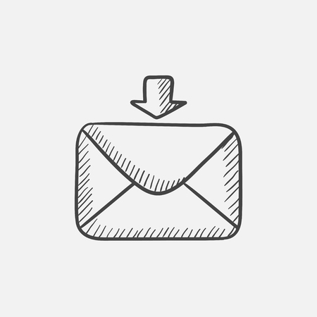 incoming: Incoming email sketch icon for web, mobile and infographics. Hand drawn vector isolated icon. Illustration