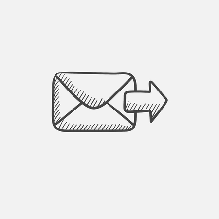 Sending email sketch icon for web, mobile and infographics. Hand drawn vector isolated icon. Çizim