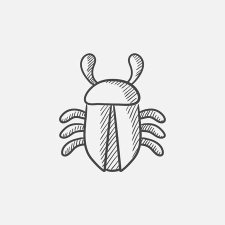 computer bug: Computer bug sketch icon for web, mobile and infographics. Hand drawn vector isolated icon. Illustration