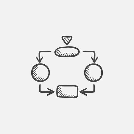 Icona di schizzo di parti di sistema per Web, mobile e infografica. Icona isolata di vettore disegnato a mano. Vettoriali