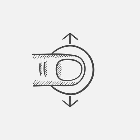 drag: Drag vertically sketch icon for web, mobile and infographics. Hand drawn vector isolated icon.