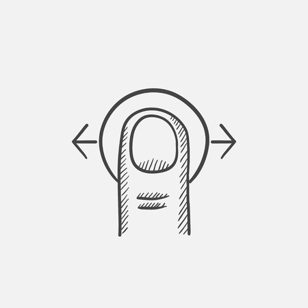 human touch: Drag horizontally sketch icon for web, mobile and infographics. Hand drawn vector isolated icon. Illustration
