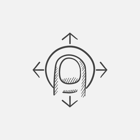 drag: Drag sketch icon for web, mobile and infographics. Hand drawn vector isolated icon. Illustration