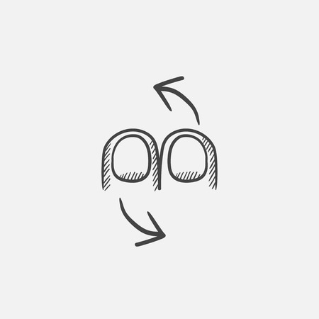 double tap: Rotate sketch icon for web, mobile and infographics. Hand drawn vector isolated icon.