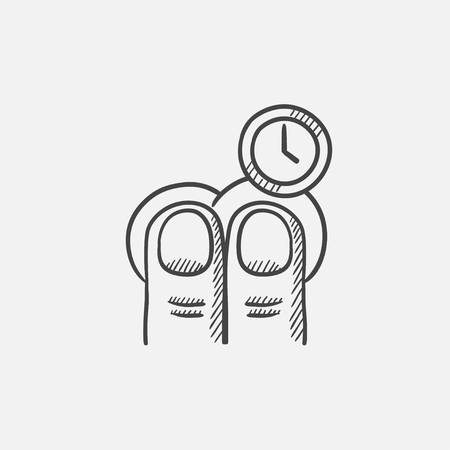 two finger: Two finger tap and clock sketch icon for web, mobile and infographics. Hand drawn vector isolated icon. Illustration
