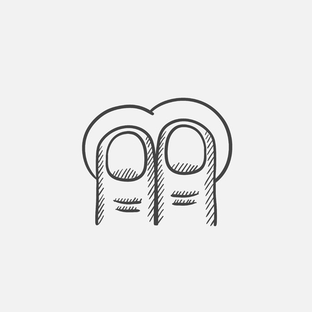two finger: Two finger tap sketch icon for web, mobile and infographics. Hand drawn vector isolated icon.