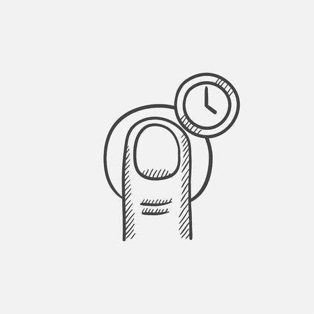 Tap gesture and clock sketch icon for web, mobile and infographics. Hand drawn vector isolated icon.