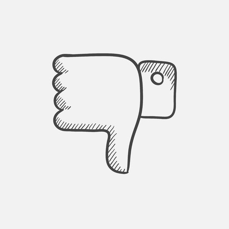 disapprove: Thumbs down sketch icon for web, mobile and infographics. Hand drawn vector isolated icon. Illustration