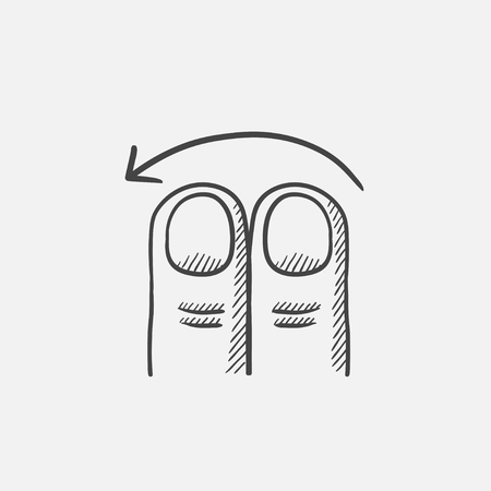 swipe: Swipe left with two fingers sketch icon for web, mobile and infographics. Hand drawn vector isolated icon.