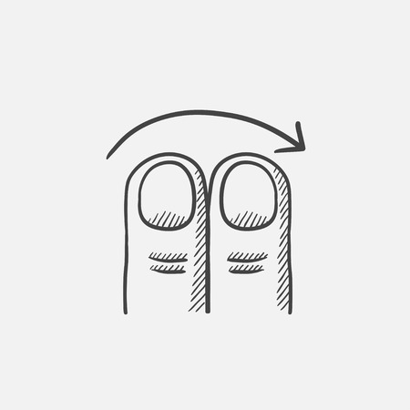 swipe: Swipe right with two fingers sketch icon for web, mobile and infographics. Hand drawn vector isolated icon. Illustration