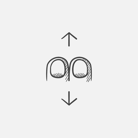 human touch: Two finger scroll sketch icon for web, mobile and infographics. Hand drawn vector isolated icon. Illustration